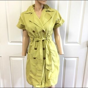 CAbi Double breasted trench dress Lime